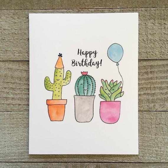 Birthday greeting card watercolor cactus hand painted card like this item bookmarktalkfo Gallery