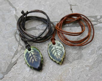 leaf pendant, leaf necklace, ceramic jewelry, fall leaf jewelry, gender neutral, clay pendant, nature inspired, woodland jewelry, gift idea