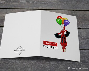 Spider-Man Balloons Birthday Card / Happy Birthday Card / Greeting Card / Card for Kid / Marvel Birthday Card / Spider Man Birthday Card