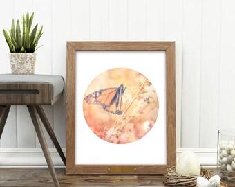 butterfly print, cherry blossoms photograph, girls room decor, baby nursery, spring print, orange, pink, nature print, printable art