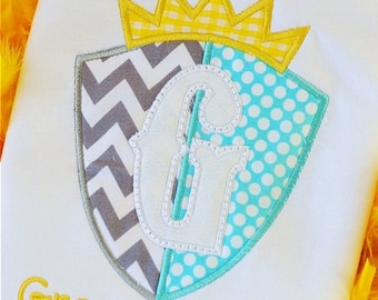 Personalized Knight's Shield and Initial or Princess Castle and Initial Applique Shirt or Onesie