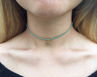 Choker Necklace | Gold Turquoise | Peace Chain