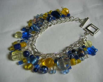Moon and Stars Beaded Charm Style Bracelet in Blues and Yellow