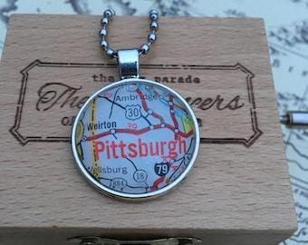Vintage Map Pittsburgh Pendant