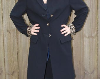 Vintage Classic Black Trench Coat With Leopard Collar & Cuffs