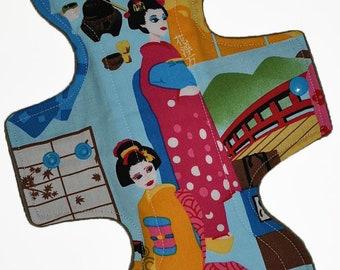 Moderate Core- Blue Geisha Reusable Cloth Overnight Pad- WindPro Fleece 10.5 Inches (26.5 cm)