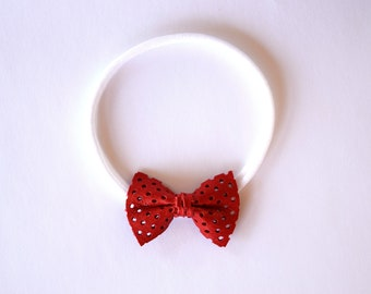 Red Honeycomb TINY Leather Bow Headband ONE size fits All Adorable Photo Prop for Newborn Baby Little Girl 4th of July Patriotic Pretty Bow