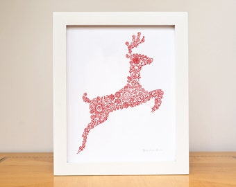 "Baby Nursery Decor Personalized Art Print 8""x10"" Reindeer Deer silhouette French Woodland Custom Color Wall Art Children GeraldineAdams"