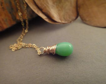 Green turquoise drop necklace