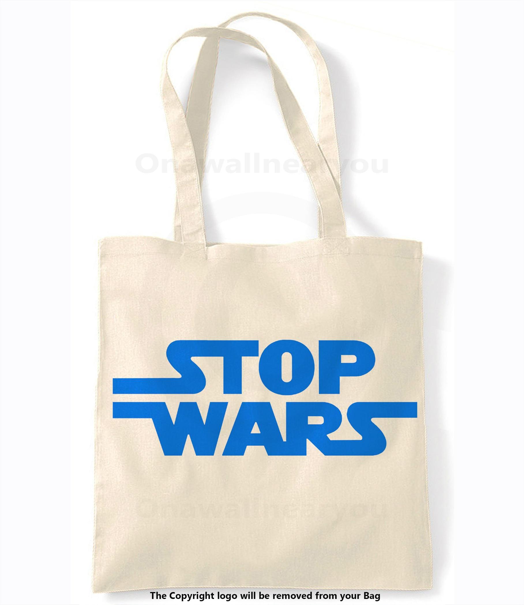 Stop Wars blau Retro-Einkaufstasche