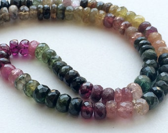Multi Tourmaline Beads - Multi Tourmaline Faceted Rondelle Beads, 6.5mm To 7.5mm Tourmaline Beads, 8 Inch Strand