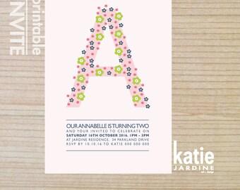 girls invitation - kids invitation  - printable invitation - flower invite - pink, blue, lime yellow