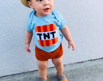 TNT - Minecraft Inspired - Light Blue Baby Bodysuit - Children's Clothing - Gift