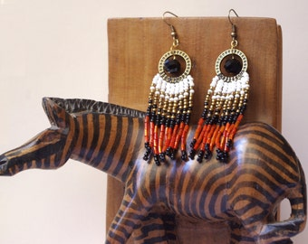 Beaded earrings,long fringe earrings, ethnic style, Native American style, seed bead earrings, beadwork jewelry, dangle earrings, boho
