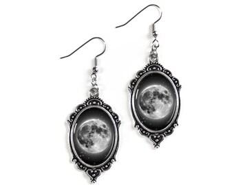 Full Moon Silver Glass Cameo Earrings