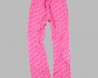 Monogrammed Flannel  Breast Cancr Awareness Pant