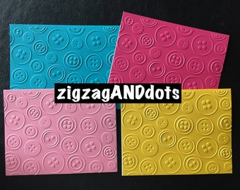 Set of 4 Handmade Embossed Cards with Matching Envelopes, Buttons Design, Size A2, Various Colors, Cards for Many Different Ocassions,