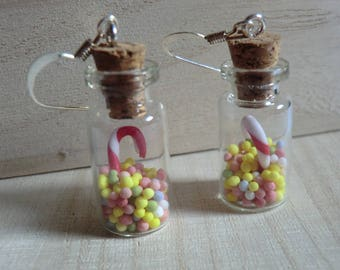 Candy jar Earrings: pearls of sugar and candy cane