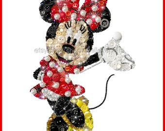 Minnie Mouse Art Button Art Minnie Mouse Swarovski Minnie Mouse Minnie Wall Hanging Minnie Mouse Collectibles Mickey Mouse Paintings