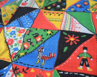 Vintage 1970s cheater quilt fabric treated cotton or cotton poly blend 2 yards 44 inches wide