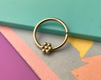 Gold Septum Ring, Handmade, Daith Piercing, Helix Piercing, Septum Jewelry, Rook Piercing, Nose Ring, Helix Earring, Cartilage Earring,