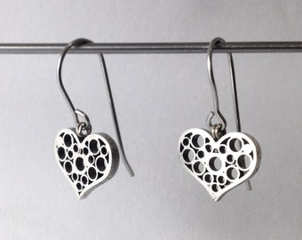 Heart Earrings - Silver -
