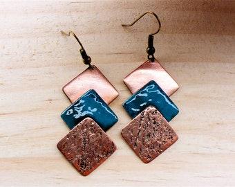 Earrings, copper rectangles copper square earrings, copper enamel earrings, unique copper earrings, turquoise enamel earrings