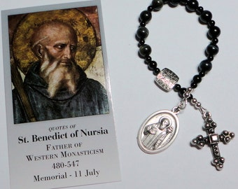 PIF St. Benedict Catholic Single Decade Chaplet Rosary in Blue Tiger Eye