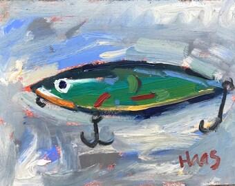 Original Oil Painting Fish California Artist Green Fishing Lure Gifts for Him Men Husband Boyfriend Fisherman Hand Painted Artwork USA Made