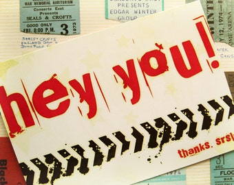 Hey You Graffiti - Blank 4x5.5 Thank You Card - Red Yellow White Olive - Stars Grunge Txt Texting Internet Teen Silly