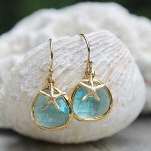 Aquamarine glass stones earrings, 14k gold filled starfish, hooks dangle, aqua blue, crystal, Alice blue, beach wedding, bridesmaids gift