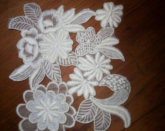 1-1920s antique lace embroidered applique 3-dimensional