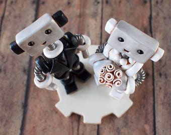 Robot Wedding Cake Topper READY TO SHIP Cute Bots Light Rustic Antiqued Finish | Clay, Wire, Paint