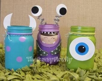 Set of 3 Monsters Inc Inspired mason jar centerpieces,Mason jar room decor,monsters Inc baby shower centerpiece,utensil holder,monster party