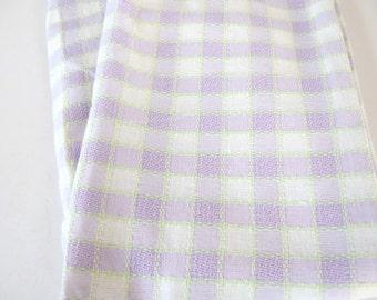 Homespun Vintage Lavender Purple and White Plaid Checked Rod Pocket Curtain, 1 Panel