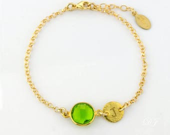 Personalized bridesmaid bracelet, bridal jewelry, Birthstone initial bracelet Peridot bracelet August Birthstone jewelry for mom necklace