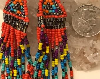 Multi Colored Dangle Seed Bead Earrings