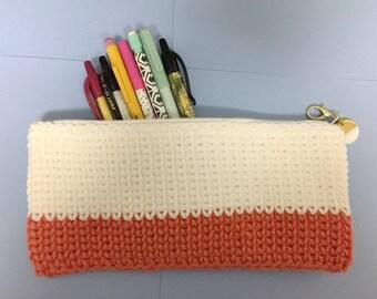 Coral Color Block Crochet Pouch