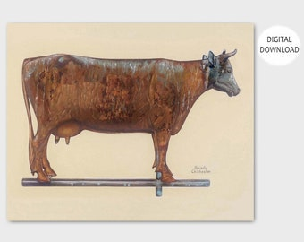 "Milk Cow Kitchen Print (Folk Art Weathervane Wall Decor, Vintage Download Farm) -- 1930s PRINTABLE Art ""Cow Weather Vane"""