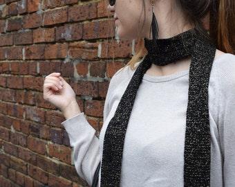 Skinny Scarf - Black wool with gold lurex
