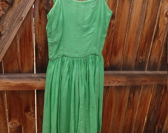 Jade 1960s prom dress, handmade, cotton with knife pleats