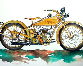 1928 Harley Davidson Art. Watercolor, Gouache, Pen, and Ink. Original Artwork.