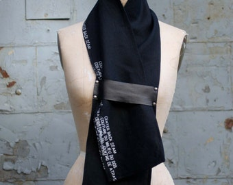 053 Black Linen and Leather Printed Scarf, Unique Scarves , Women's Fashion Accessories, Text screen print