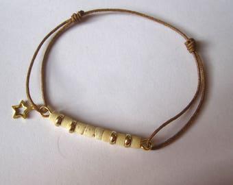 Heishi beige cord bracelet