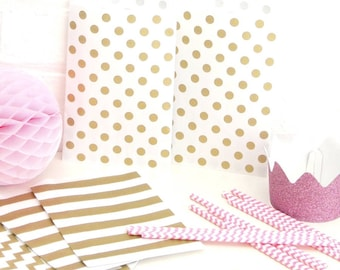 Gold Polka Dot Paper Bags for Wedding Favours, Children's Party Bags and Gifts