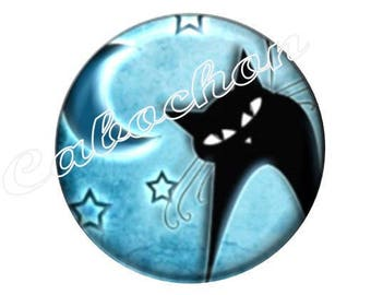 1 cabochon 25mm glass cat silhouette, blue and black