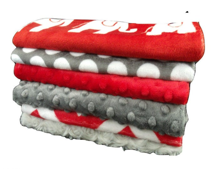Red and Gray Burp Cloths, Red Elephants Baby Burp Cloths, Red Chevron Baby Burp Burp Rags, Burping Accessories