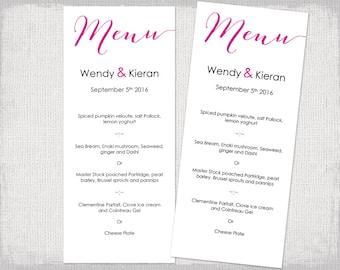 "Editable Menu template Begonia pink Printable Modern calligraphy cerise DIY fuchsia Wedding menu templates ""Bombshell""  YOU edit download"