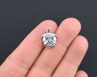 BULK 30 Bulldog Charms Antique Silver Tone - SC2701
