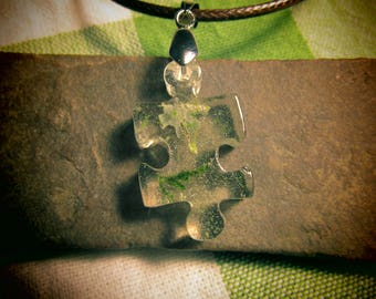 Puzzle Piece Resin Pendant with Lichen and Moss